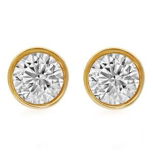 14K Unisex Yellow Gold Round Genuine Diamond Solitaire Bezel Stud Earring 0.25ct