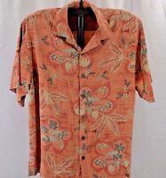Tommy Bahama Hawaiian Shirt M Salmon/Floral Coconut Shell Buttons 100% silk SS