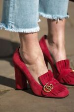 Authentic Gucci GG Marmont Red Suede Leather Pumps Loafers Size EU 36 US 6