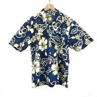 Quicksilver Men's Hawaiian Button Up Shirt Size S Aloha Floral Short Sleeve Blue