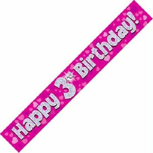 9ft Pink Happy 3rd Birthday Holographic Foil Banner Age 3 Girl Party Decorations