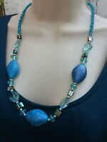 Vintage Glass and Mother of pearl Necklace Turquoise color