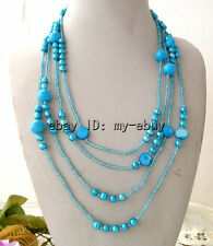 """Pearl&Coin Shell&Turquoise Necklace 100"""" Blue Oval Freshwater"""
