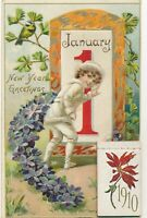 NEW YEAR – 1910 Year New Year Greetings with Calendar Attached Tuck Postcard