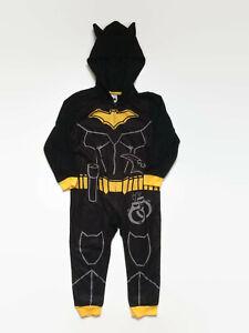 Batman Boys Black Hooded Fleece One-Piece Blanket Sleeper
