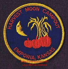 """LMH PATCH Badge HARVEST MOON CAMPOUT Kids Halloween Camping EMPORIA KS Man In 3"""""""