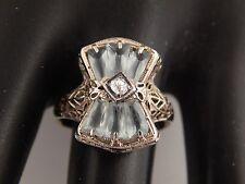 Vintage Filigree 1.59 tcw  AQUAMARINE Ring Old Mine Cushion Cut Diamond 14k WG