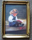 """Quiet Time By DONALD ZOLAN Little girl reading 6"""" x 8"""" FRAMED Print"""