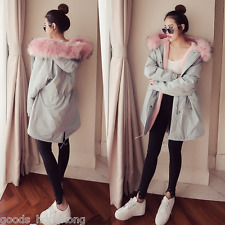 New pink faux fur gray hooded parka coat jacket lined fashion korean black chic