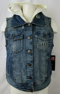 New York Giants Womens M Touch Faux Layered Hooded Denim Vest Jacket AGIA 187