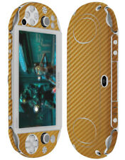 Skinomi Carbon Fiber Gold Skin+Screen Protector Cover for Sony PS Vita PCH-2000