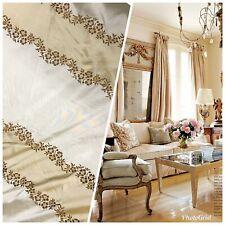 NEW! Designer 100% Silk Taffeta Embroidered Stripe Floral Fabric- Ecru & Gold