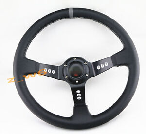 DEEP DISH 350MM 6 HOLE LEATHER & WHITE STITCH RACING JDM STEERING WHEEL & HORN