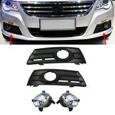Bumper LED Fog Lights + Fog Lamp Grilles Sets Fit VW CC Passat CC 09-12 8T0 /3C8