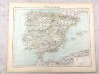1894 Antik Map Of Spanien Portugal Europa Original 19th Century Alte Französisch