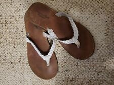 American Eagle White Braided Leather Flip Flops Size 8