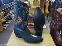 LOS ALTOS SNIP TOE BLACK GENUINE STINGRAY SINGLE STONE WESTERN COWBOY BOOT (EE)