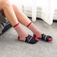 Cartoon stripe Winter Girls Cat Print Toe Socks Five Finger Cotton Ankle Socks.