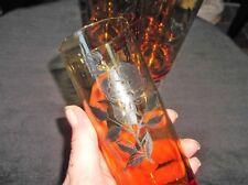 "4 X ELEGANT RETRO TALL RICH AMBER GLASSES CLEAR BASE BLACK ROSES DESIGN 6.5"""