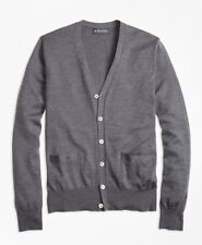 BROOKS BROTHERS Authentic Mens Button Front L/S Merino Cardigan GRAY Medium $168