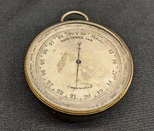 Antique Brass Pocket Barometer Altimeter Compensated