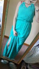 New Look Light Blue Summer Maxi Dress Gold Chan Sid Slit Sleeveless Holiday 8