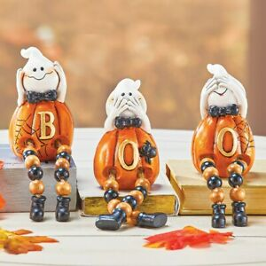 Set of 3 Adorable Ghost BOO Halloween Table Decor Collectible Figurines