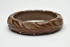 Vintage Carved Bakelite Leaf Bangle Bracelet