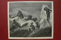 ZCe) Holzstich Gletscher Hummocks 1873 Schlittenfahrt Personen Schlittenhunde