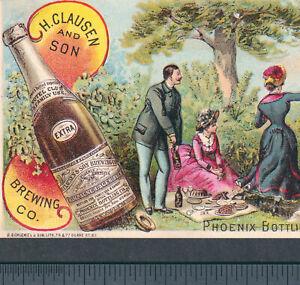 Phoenix Bottling New York H Clausen Lager Beer Brewing Bottle Picnic Trade Card