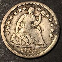 1852 O Seated Liberty Silver Half Dime 5c Type Coin Rare Date Only 260k Minted