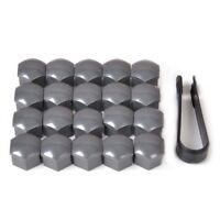 Wheel Lug Nut Bolt Center Cover Gray 17mm Caps & Tool for VW Audi Skoda X20