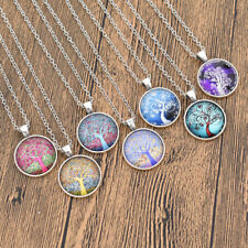 Spiral Tree Of Life Glass Pendant Necklace Cabochon Women Fashion Jewelry Gift