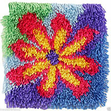 Flower Power Shaggy Plus Longueur Latch Hook Kit 30x30cm Caron WonderArt