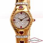 Estate Diamond 3.75ct Heart Ruby 18K Gold Ladies Watch 74.9 Grams NR
