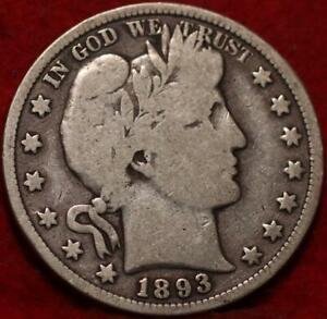 1893 Philadelphia Mint Silver Barber Half Dollar