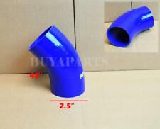 """2.5"""" 63mm 45 degree Turbo/Intake/Intercooler 3-PLY Silicone Coupler Hose BLUE"""