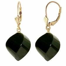 31 Carat 14K Solid Yellow Gold Earrings Twisted Briolette Black Spinel