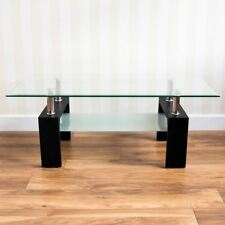 Elise Coffee Table Black Rectangular Modern Clear Tempered Glass Top Furniture