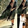 Women's Casual Cardigan Beachwear Kimono Loose Cover-Up Tops Tassel Blouse Coat