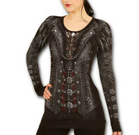 Spiral Direct GOTHESS WRAP Womens Long Sleeve Steampunk/Goth/Corset/Top/Clothing