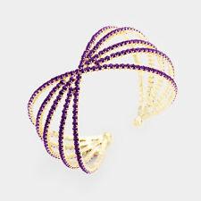 Statement Celeb Amethyst Purple Crystal Cuff Bangle Bracelet By Rocks Boutique