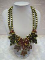 "HEIDI DAUS ""Many Hues Of Autumn"" Crystal Leaf Necklace (Orig.$299.95)-LAST ONE!!"
