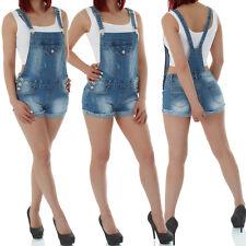 malucas Damen Jeans Latzhose Overral Jumpsuit Kurze Hose Shorts Bermuda Hotpants
