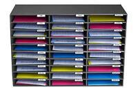 AdirOffice Black Corrugated Cardboard 30 Slot Classroom File Organizer