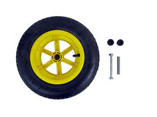 "YELLOW SPOKED + AXLE  14"" Pneumatic Wheelbarrow Wheel Tyre 3.50 - 8 INNER TUBE"