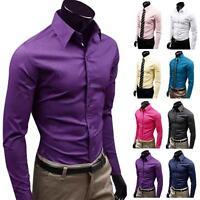 Fashion Mens Luxury Stylish Comfortable Casual Long Sleeve Slim Fit Dress Shirts
