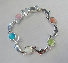 Silver Dolphin Charm Bracelet With Colored Stones Magnetic Clasp # 3470 GIFT