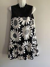 Victoria Beckham for Target Black White Daisy Floral Shift Dress Sleeveless sz S