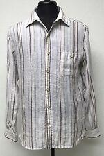 Nat Nast Striped Linen Shirt Size M Brown Blue Green Tan Long Sleeve Button Down